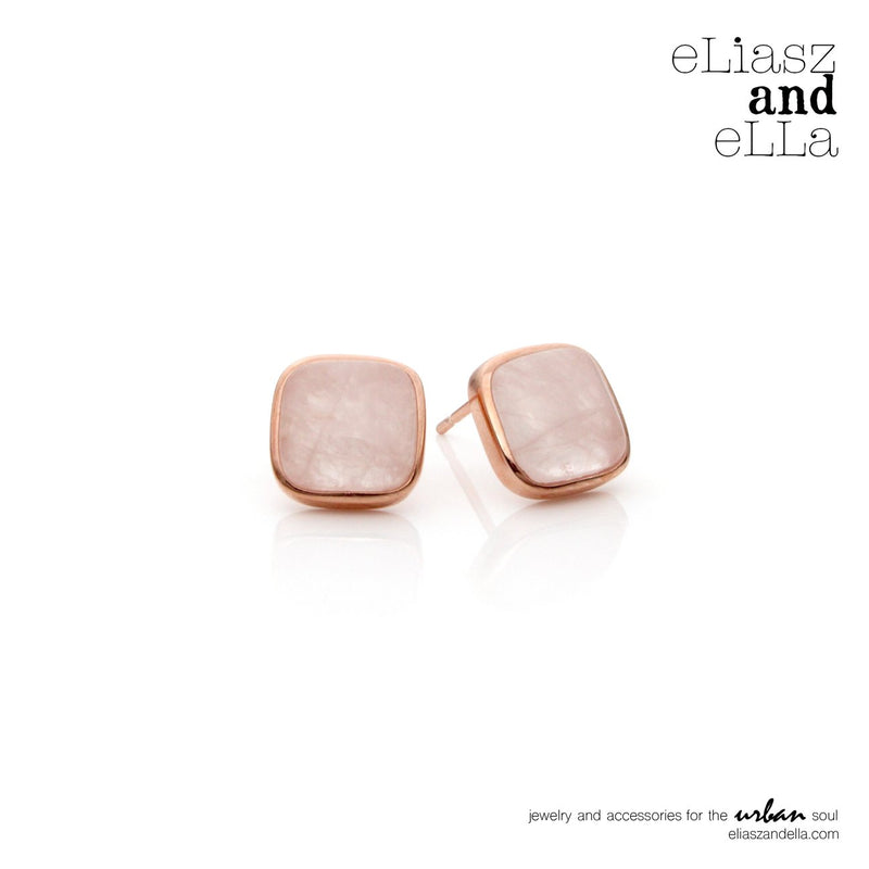 "Eliasz and Ella Rose Quartz ""Avoir"" Studs - Saradee Boutique"