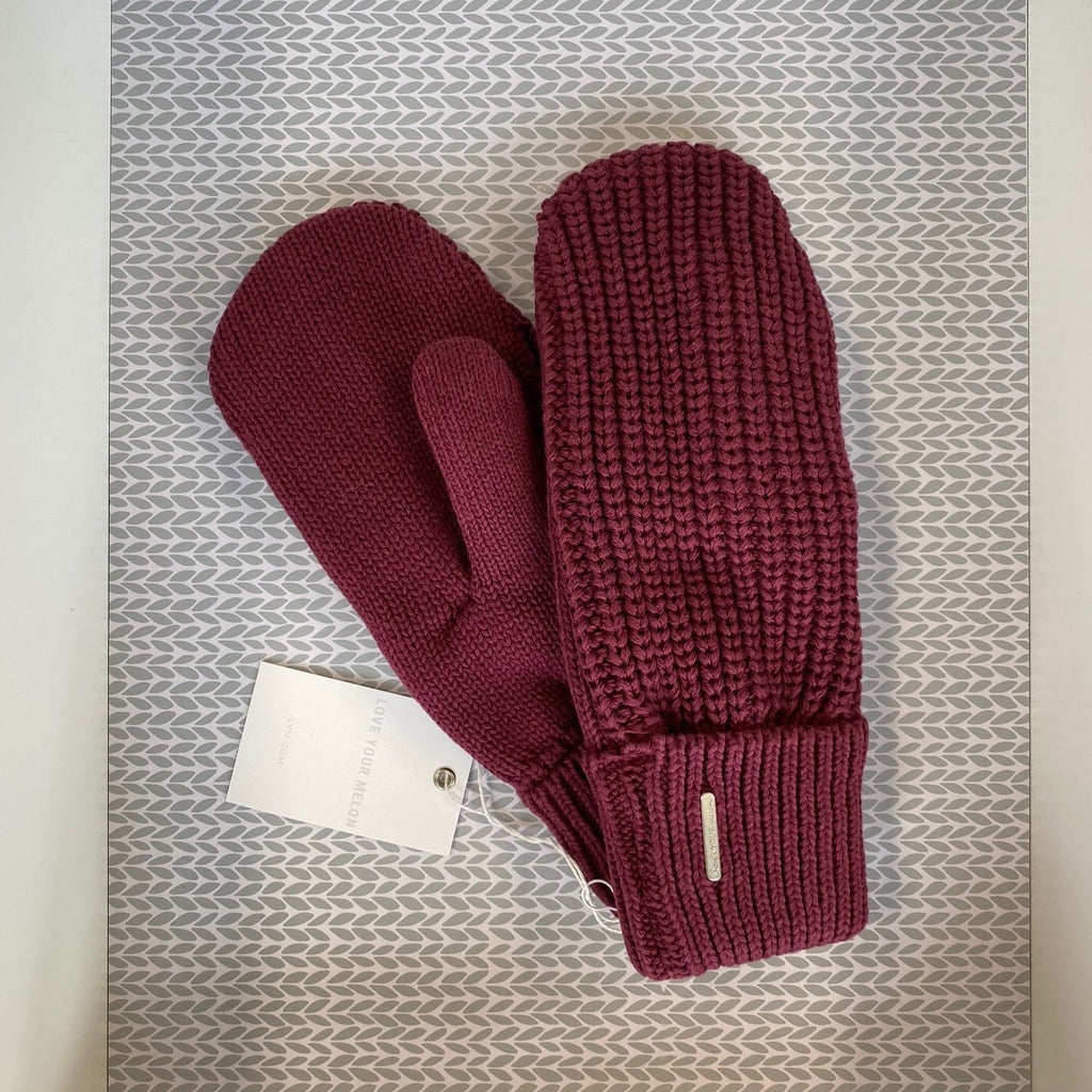 Burgundy Knit Mittens - Saradee Boutique