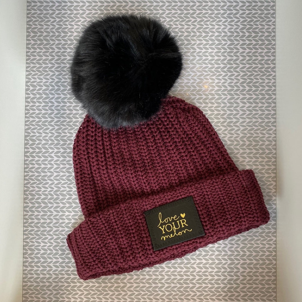Kids Burgundy Gold Foil Pom Beanie - Saradee Boutique