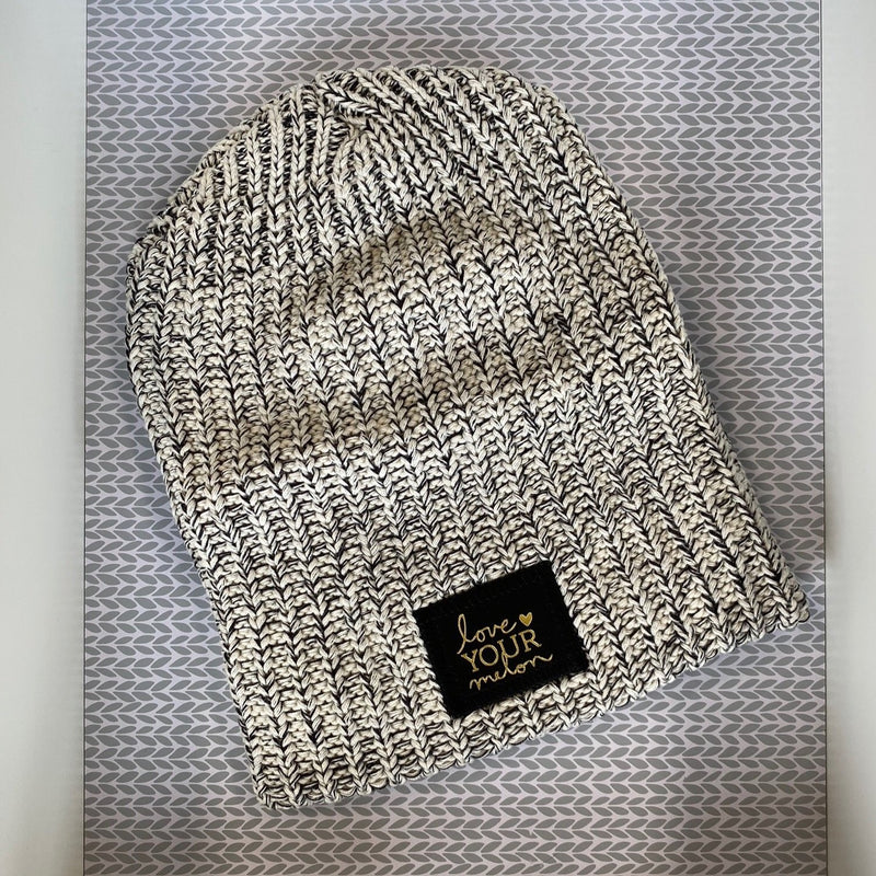 Black Speckled Gold Foil Beanie - Saradee Boutique