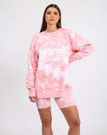 VARSITY CROWN CREST Pink Marble Tie-Dye Big Sister Crew Neck Sweatshirt | Juicy Couture