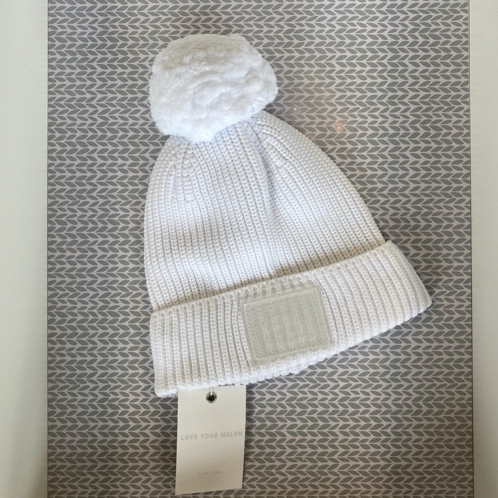 White Revitalize Pom Beanie - Saradee Boutique