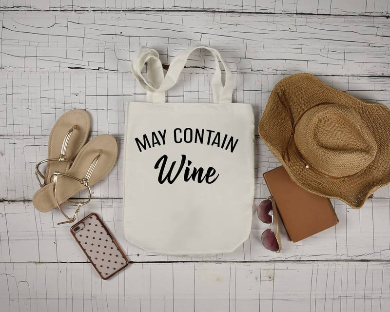 May Contain W*ne Natural Canvas Tote