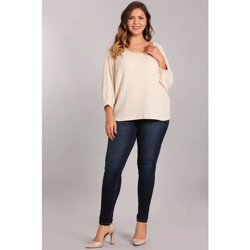 Lightweight Waffle Knit Plus Size Top -Cream