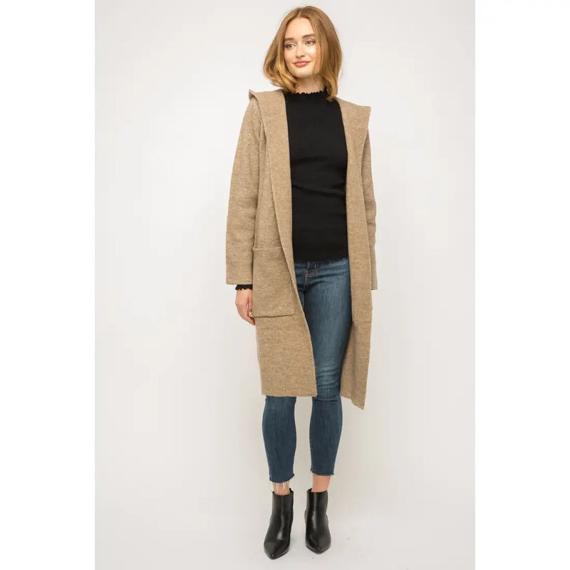 Hooded Open Long Cardigan with Pockets