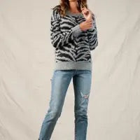 Grey Zebra Sweater