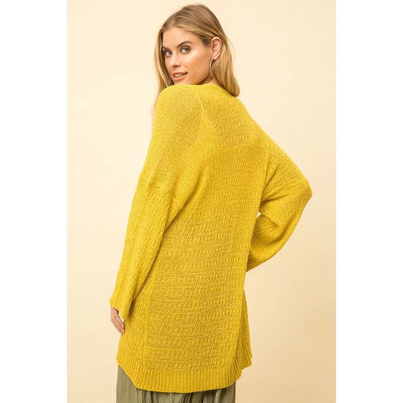 Open Front Sweater Cardigan- Mustard