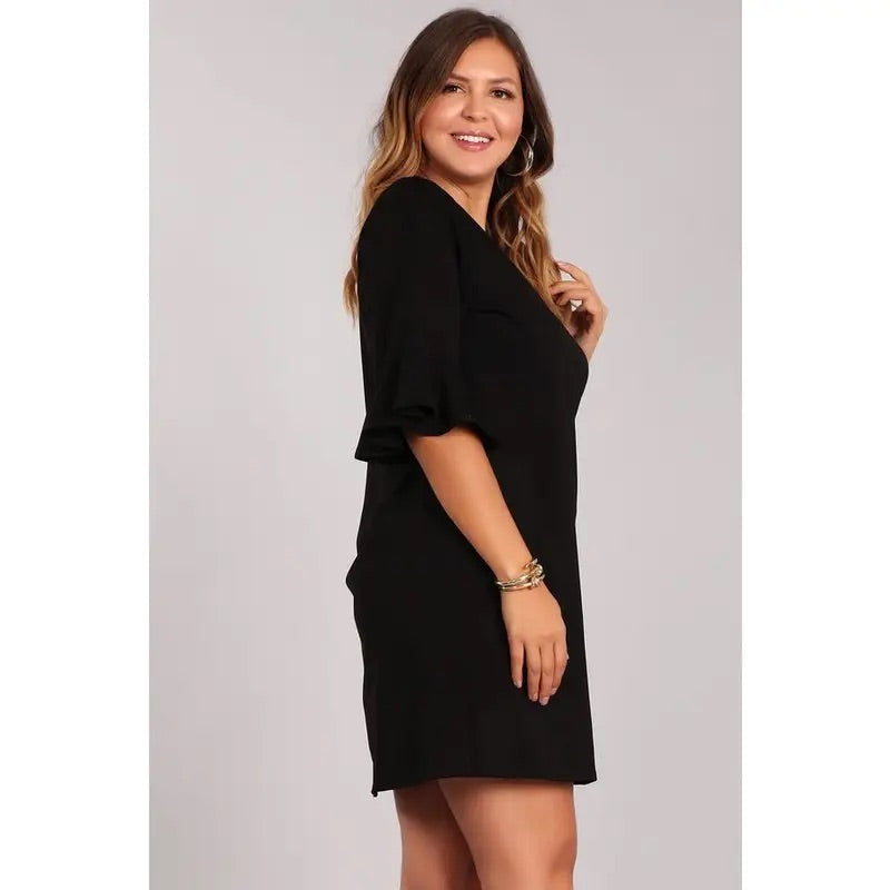 Solid Knit Midi Dress Plus Size- Black