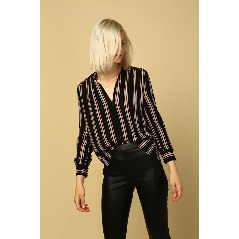 Harlow Self Cover Button Down Blouse
