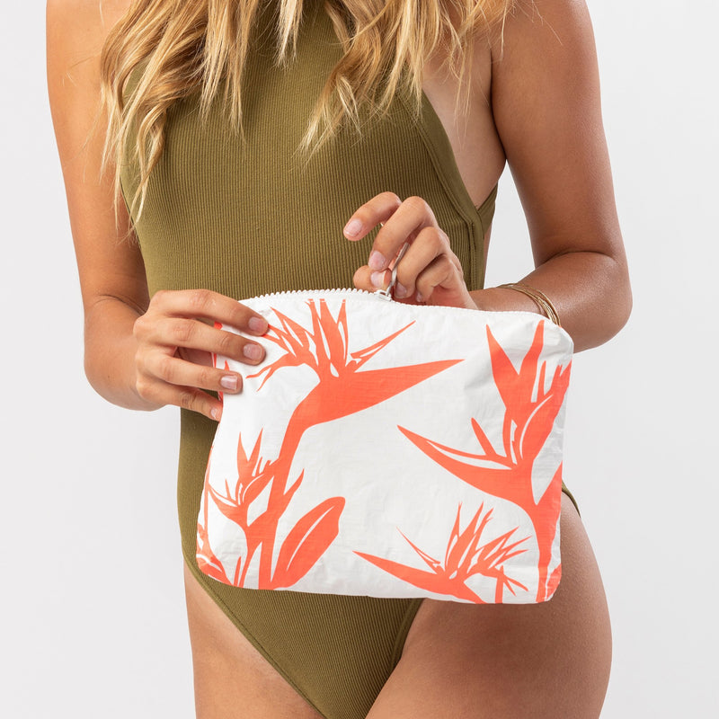 Small Birds In Paradise Pouch in Neon Coral