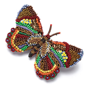 Broche bordado de mariposa oropel