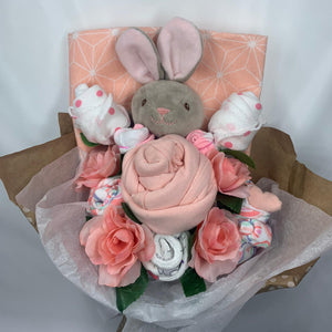 baby bunny ,peach bouquet, infant, baby shower, baby  gift, girl baby gift, newborn,