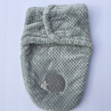 Load image into Gallery viewer, Keep your baby warm and safe with this grey soft swaddle bag from The My Baby collection.  This luxurious wrap envelopes baby to create a comforting close fit that mimics the womb to help make your baby feel safe and warm.