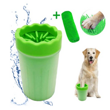 Load image into Gallery viewer,  Give your dog's muddy paws a quick wash and a gentle massage after playing outside with the dog paw cleaner made of gentle soft silicone bristles that will not make your pets feel ache, itchy, or discomfort.