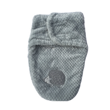 Load image into Gallery viewer, Keep your baby warm and safe with this soft grey swaddle bag from My Baby Boutique collection. This luxurious wrap envelopes baby to create a comforting close fit that mimics the womb to help make your baby feel safe and warm.