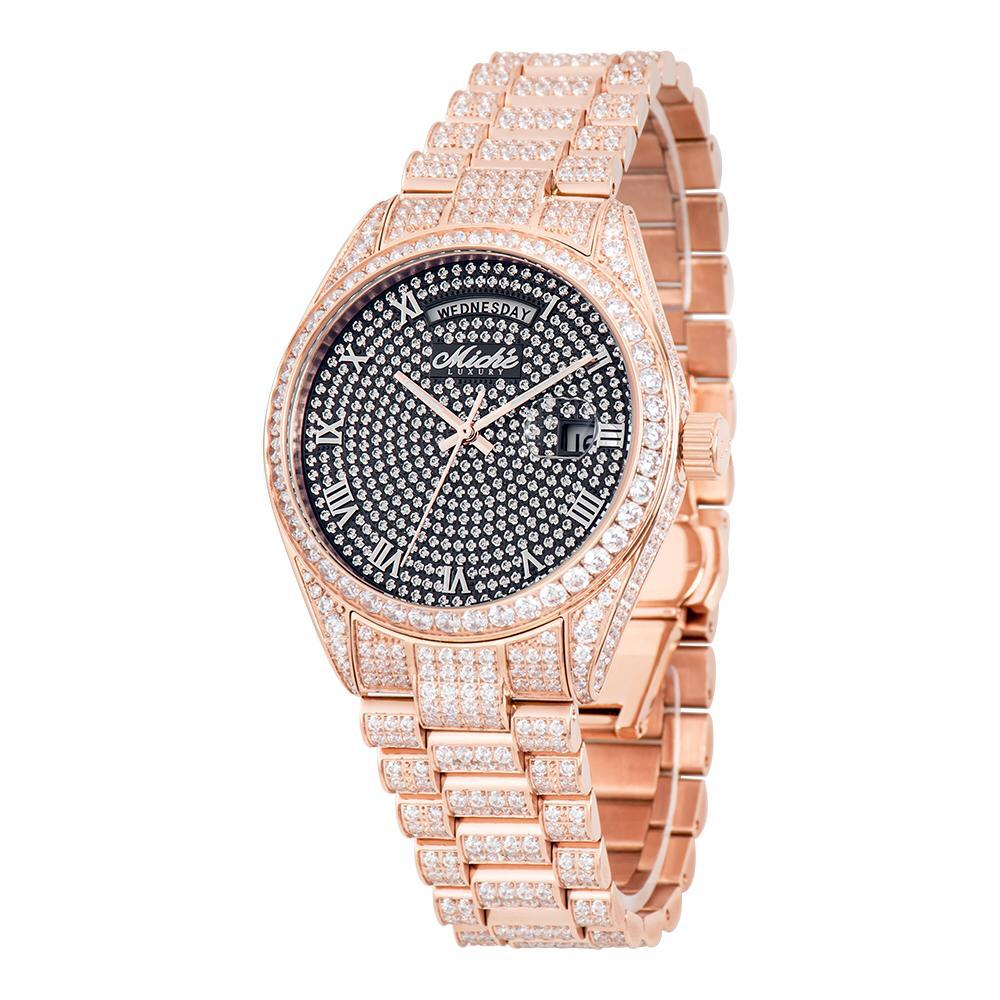 Miché Collections Iconic Men's Watch with Full Body Cubic Zirconia Black Dial & Rose Finish