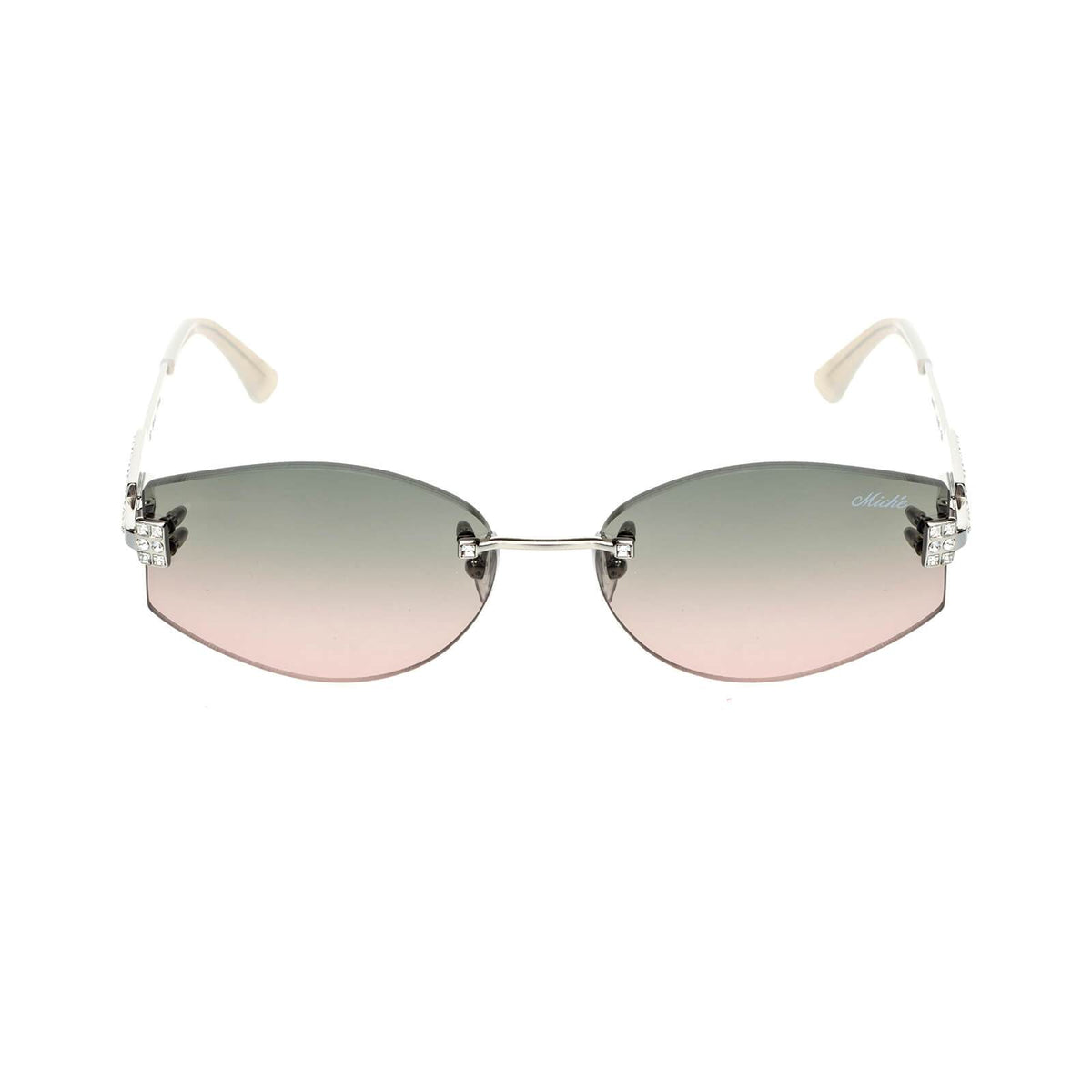 Miché Empress Sunglasses - Grey Brown Fade - Silver - White