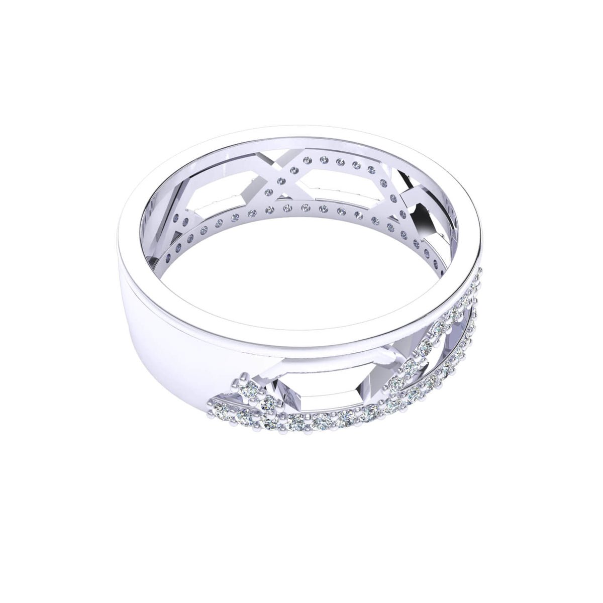 0.50 Ct Round GH I1-I2 Diamond Fancy Designer Wedding Band For Men 925 Silver