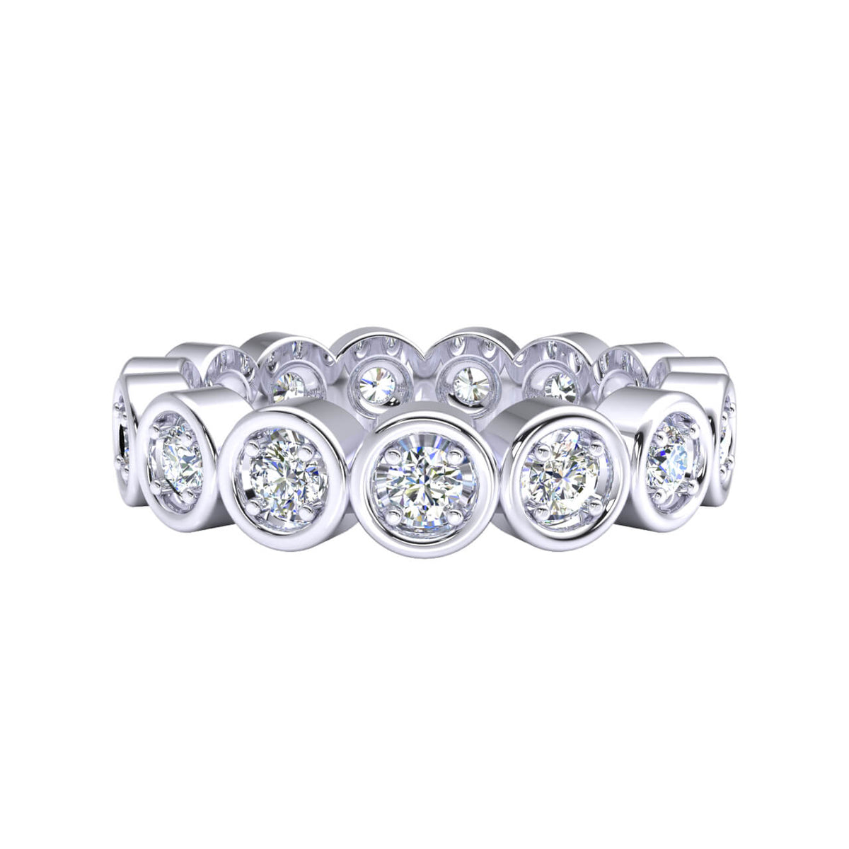 0.75 Ct Bridal Stackable Women's Round GH I1-I2 Diamond Eternity Wedding Band 925 Silver
