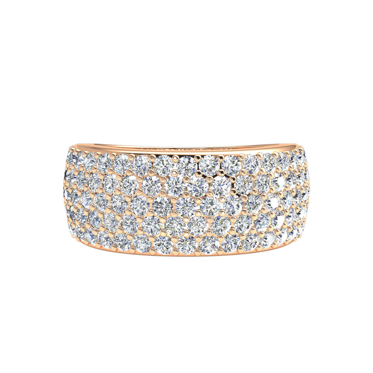 1.40 Ct Women's Round H SI2 Diamond Pave 5-Row Wedding Band 10k Gold