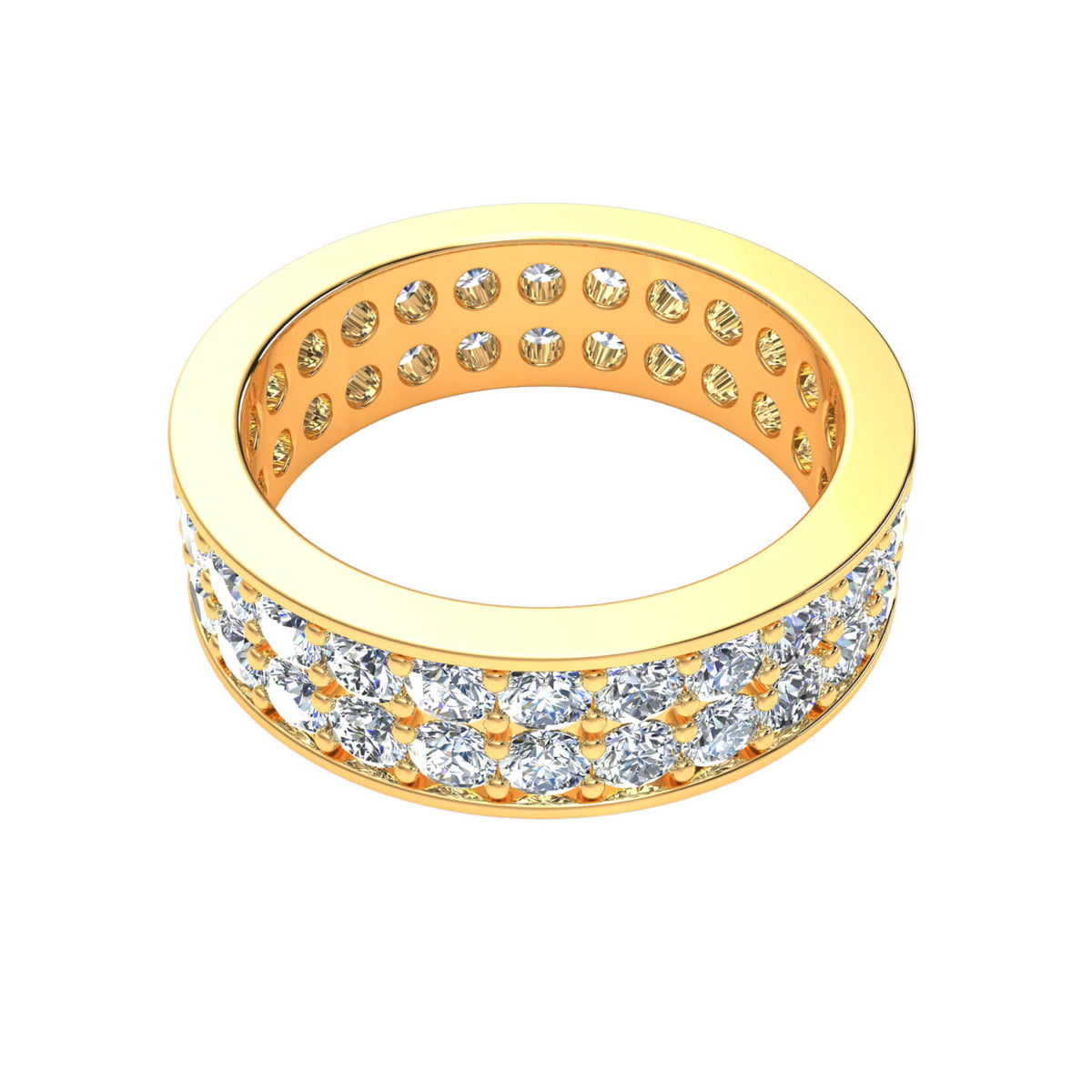 3.00 Ct Round GH SI1 Diamond Eternity 2-Row Wedding Band For Women 14k Gold