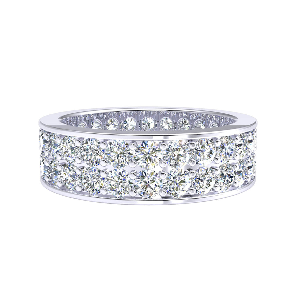 3.00 Ct Round H SI2 Diamond Eternity 2-Row Wedding Band For Women 10k Gold