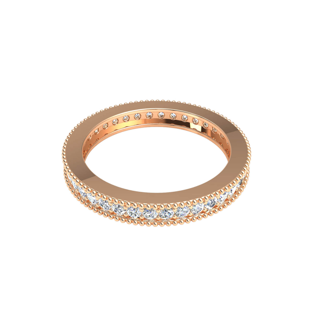 1.15 Ct Round H SI2 Diamond Milgrain Eternity Wedding Band For Women 10k Gold