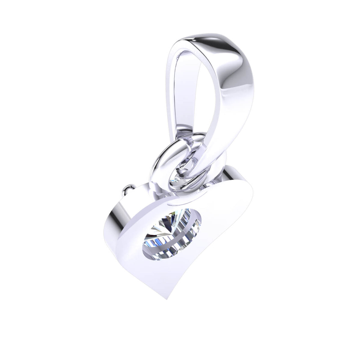 0.17 Ct Drop Round GH SI1 Diamond Heart Pendant For Adults 14k Gold