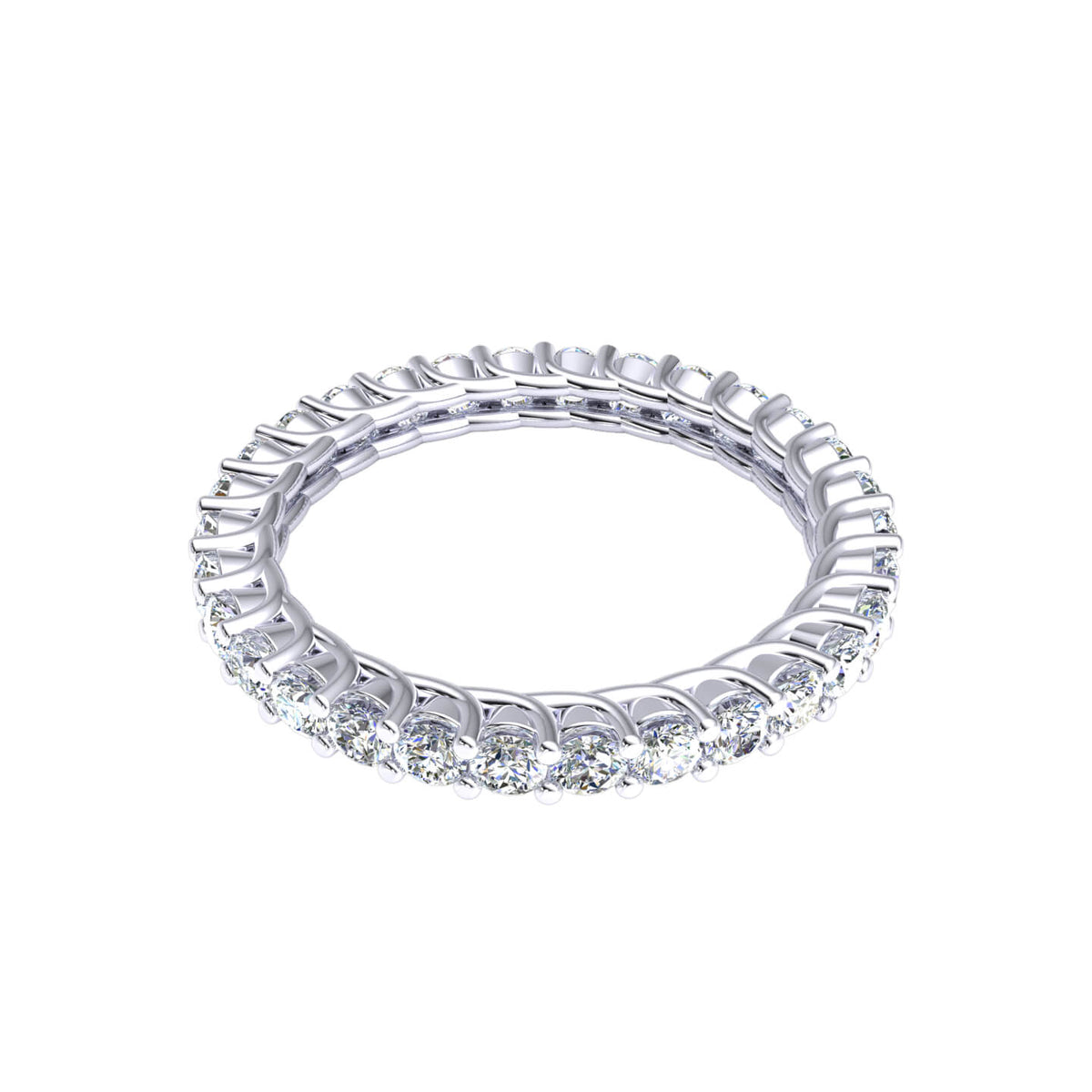 1.40 Ct Bridal Eternity Women's U-Prong Round GH I1-I2 Diamond Wedding Band 925 Silver