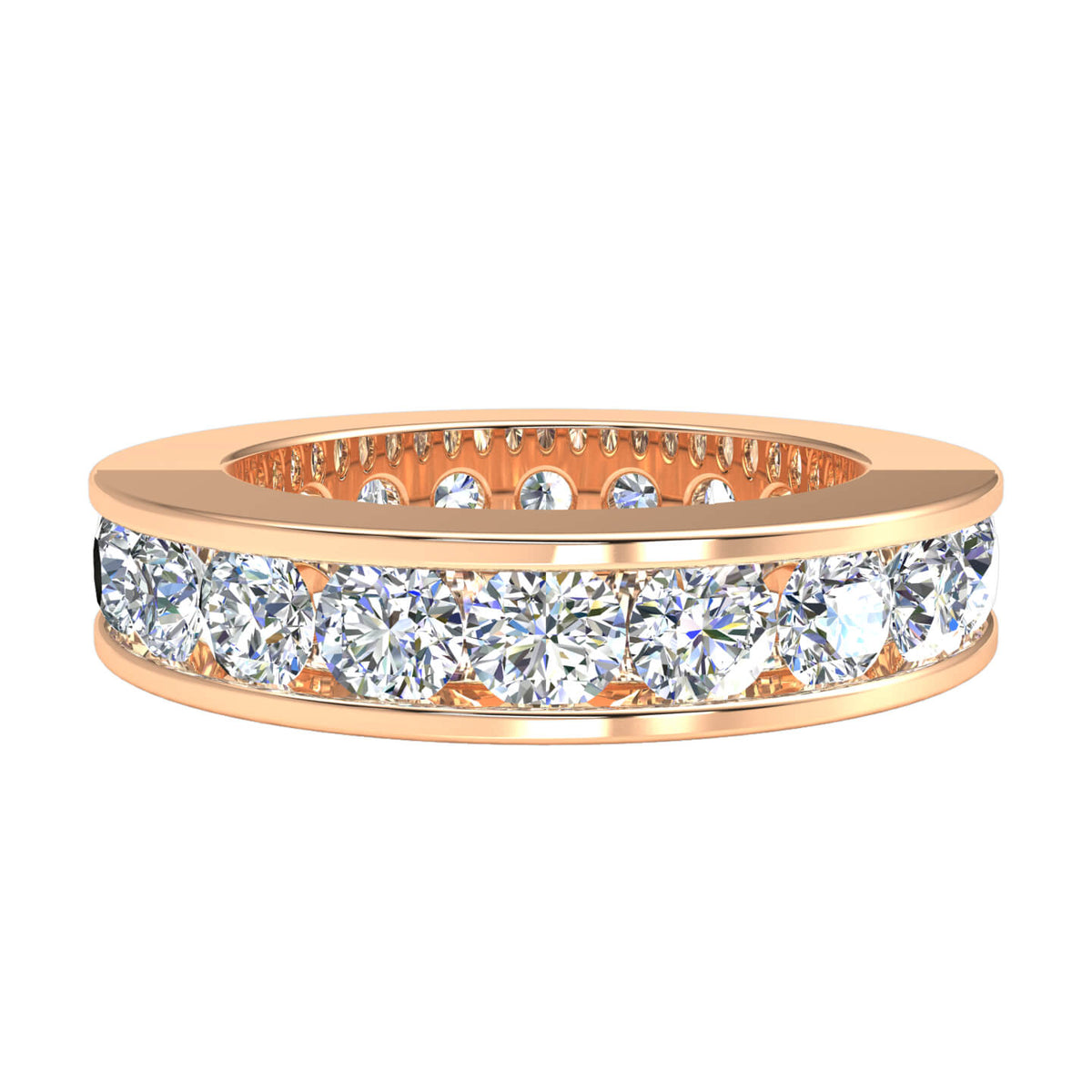 4.00 Ct Women's Round FG VS2 Diamond Eternity Classic Wedding Band 18k Gold
