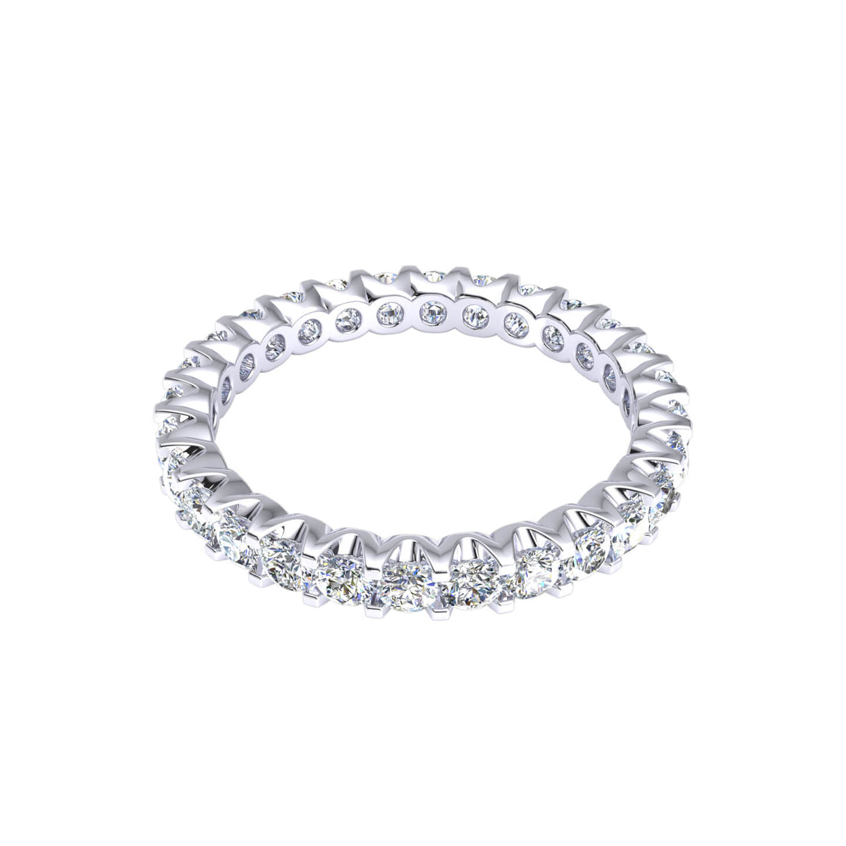1.40 Ct Round GH I1-I2 Diamond Bridal Eternity Wedding Band For Women 925 Silver