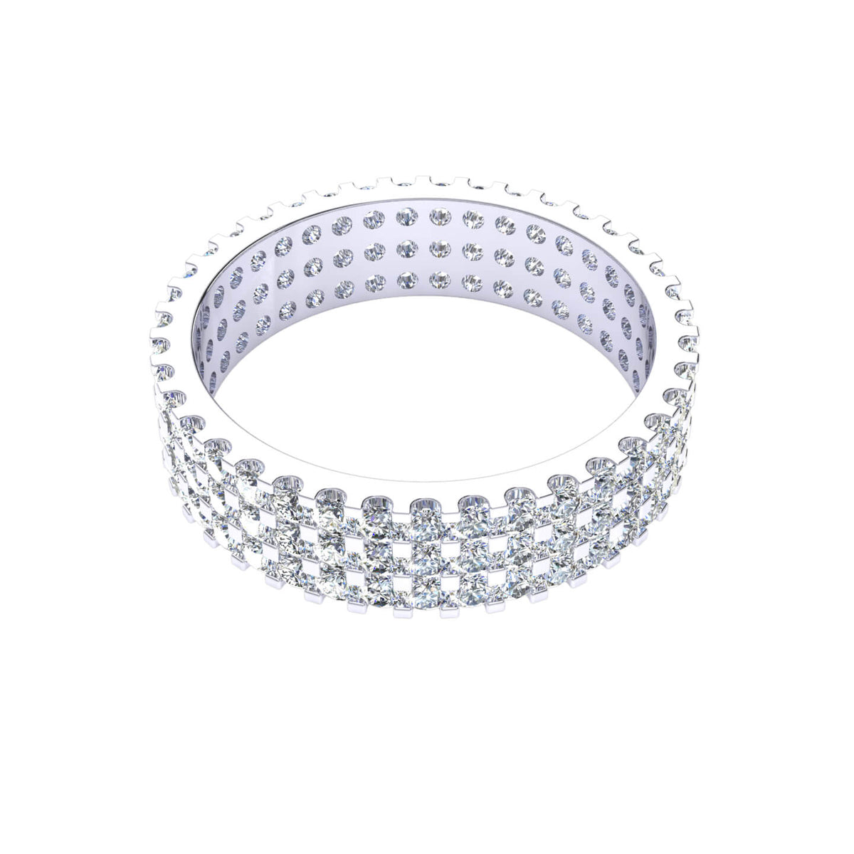 2.10 Ct Round GH SI1 Diamond 3-Row Eternity Wedding Band For Women 10k Gold