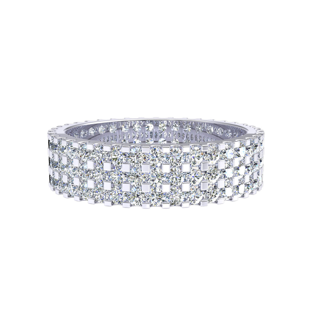 2.10 Ct Round F VS1 Diamond 3-Row Eternity Wedding Band For Women 18k Gold