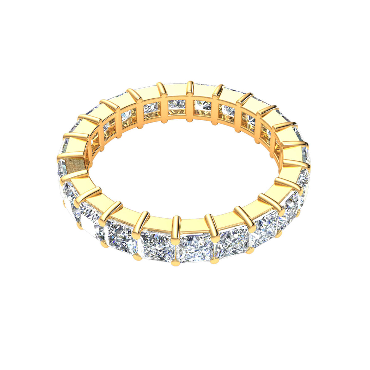 4.00 Ct Women's Princess F VS1 Diamond Eternity Classic Wedding Band 18k Gold