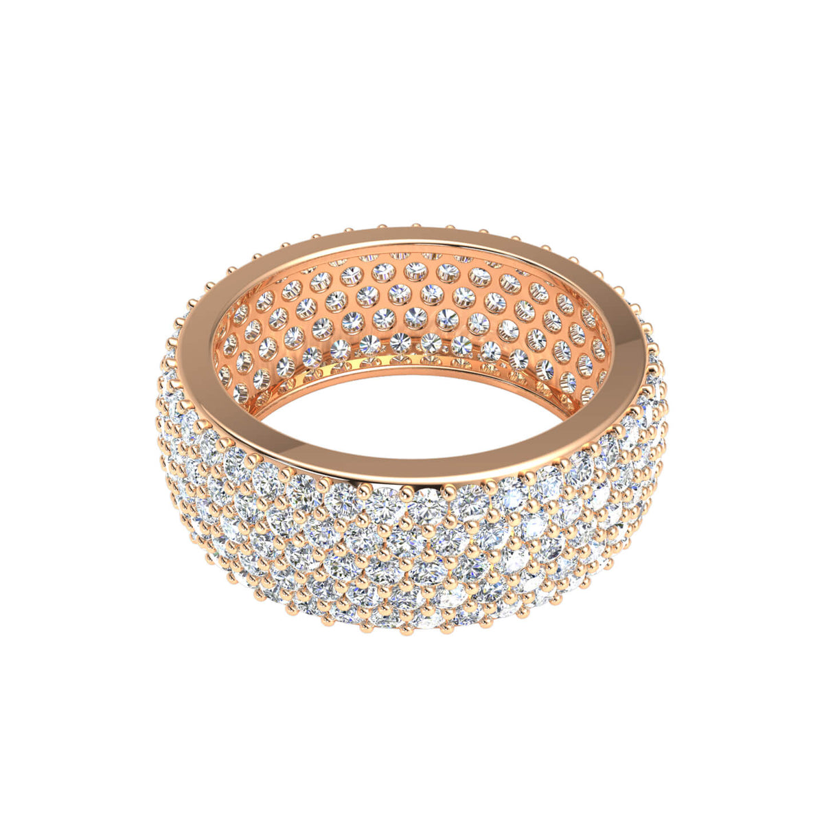 3.00 Ct Round H SI2 Diamond Eternity Pave Wedding Band For Women 10k Gold