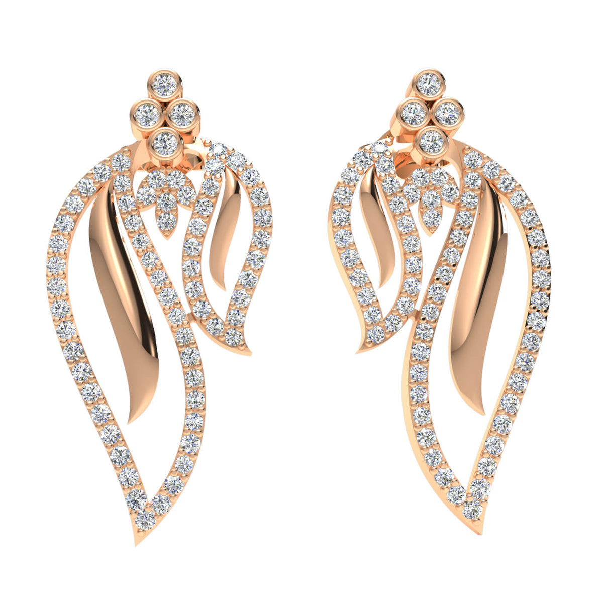 1.15 Ct Drop Round H SI2 Diamond Fancy Earrings For Womens 10k Gold