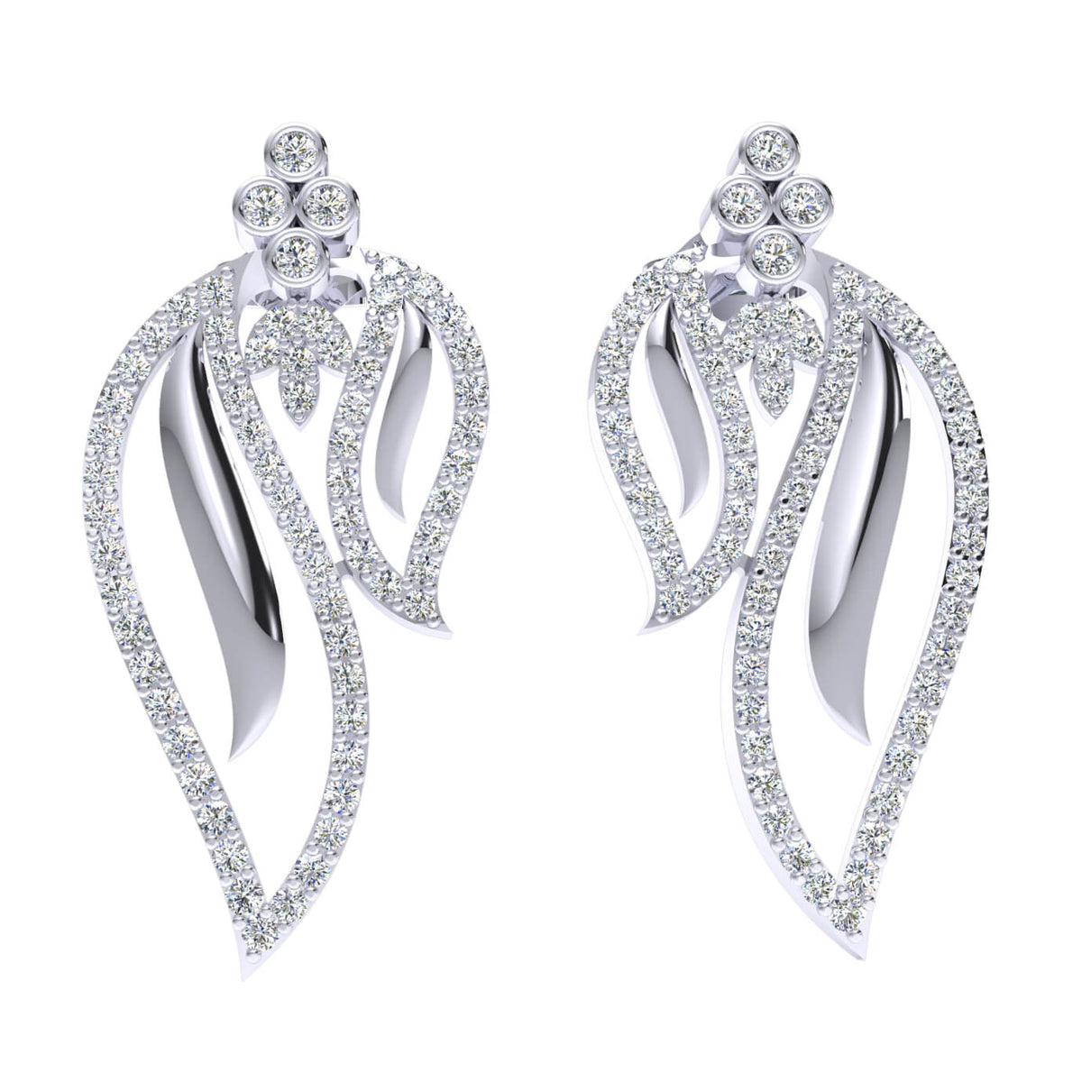 1.15 Ct Drop Round GH I1-I2 Diamond Fancy Earrings For Womens 925 Sterling Silver