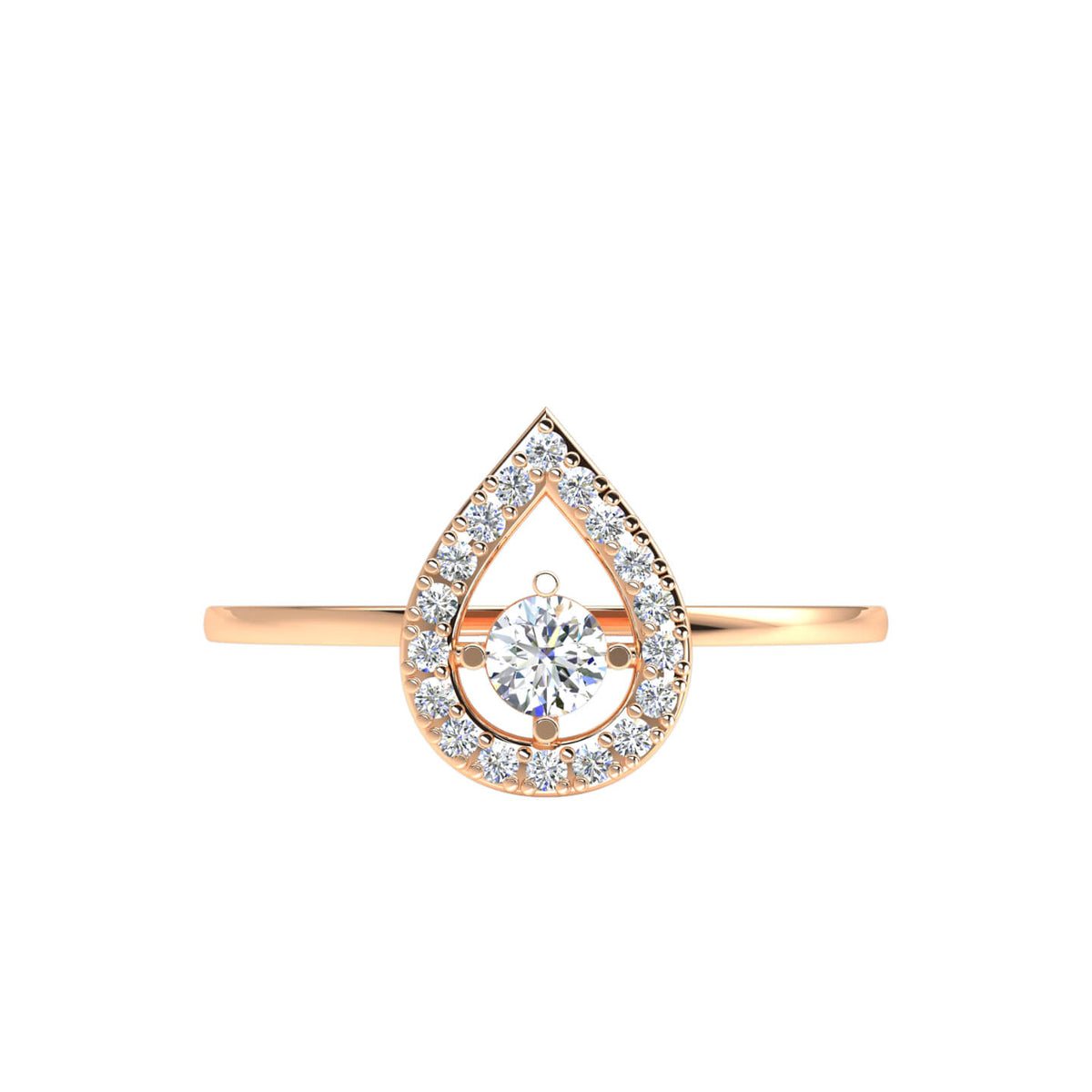 0.20 Ct Round GH I1-I2 Diamond Halo Solitaire Fancy Ring For Women 925 Silver