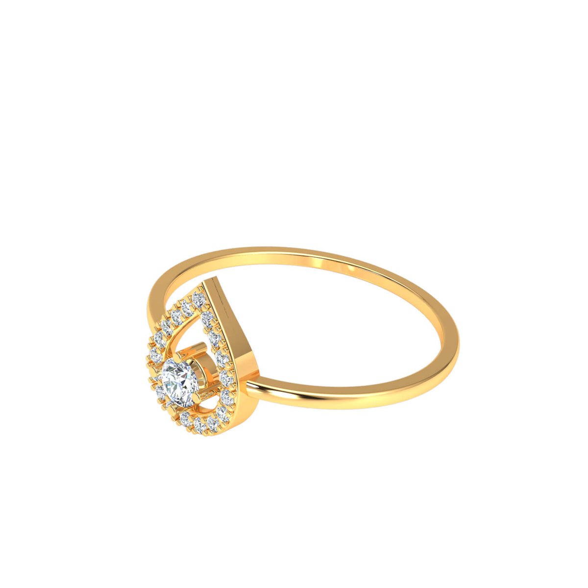 0.20 Ct Round F VS1 Diamond Halo Solitaire Fancy Ring For Women 18k Gold