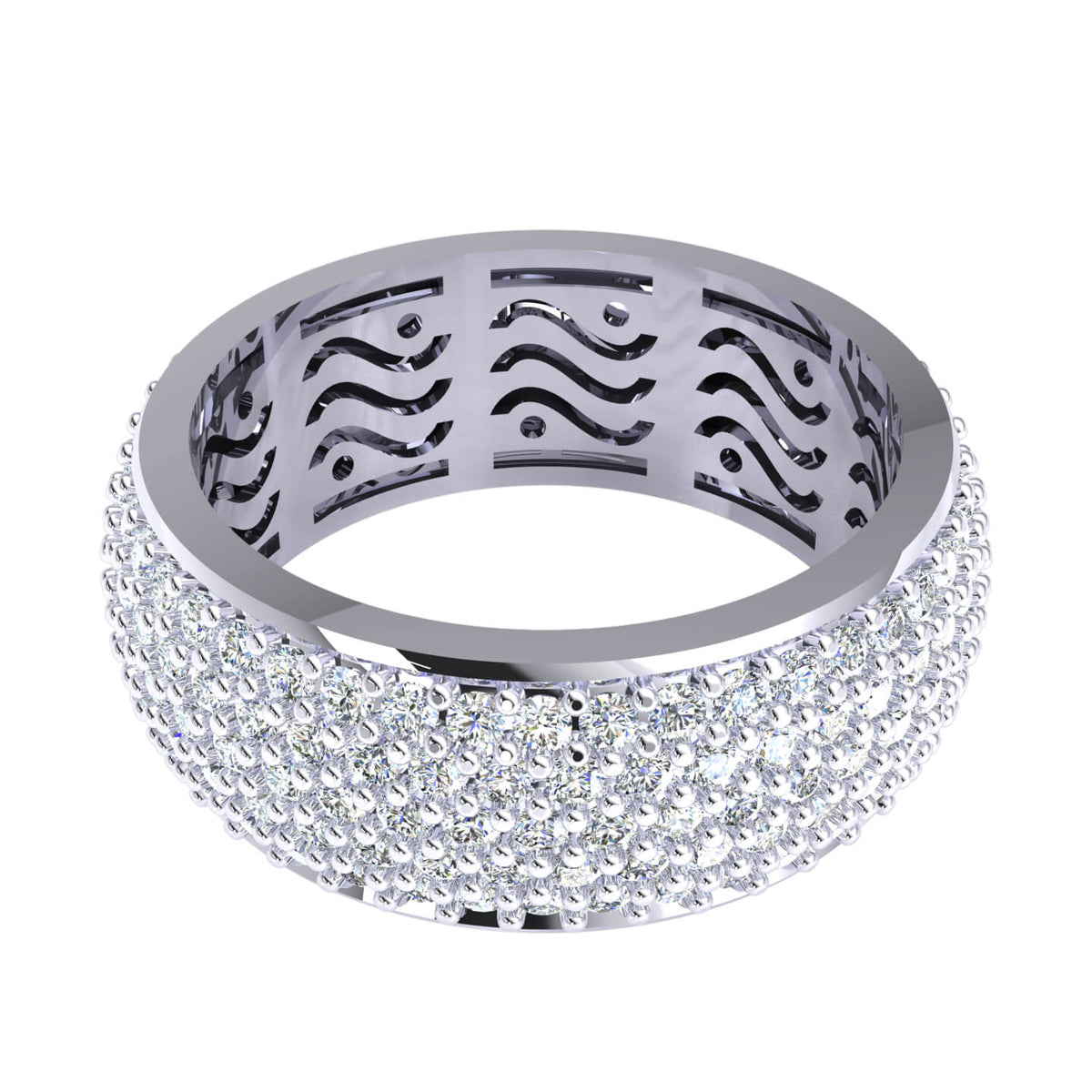 4.00 Ct Bridal Eternity Women's Pave Round GH SI1 Diamond Wedding Band 10k Gold