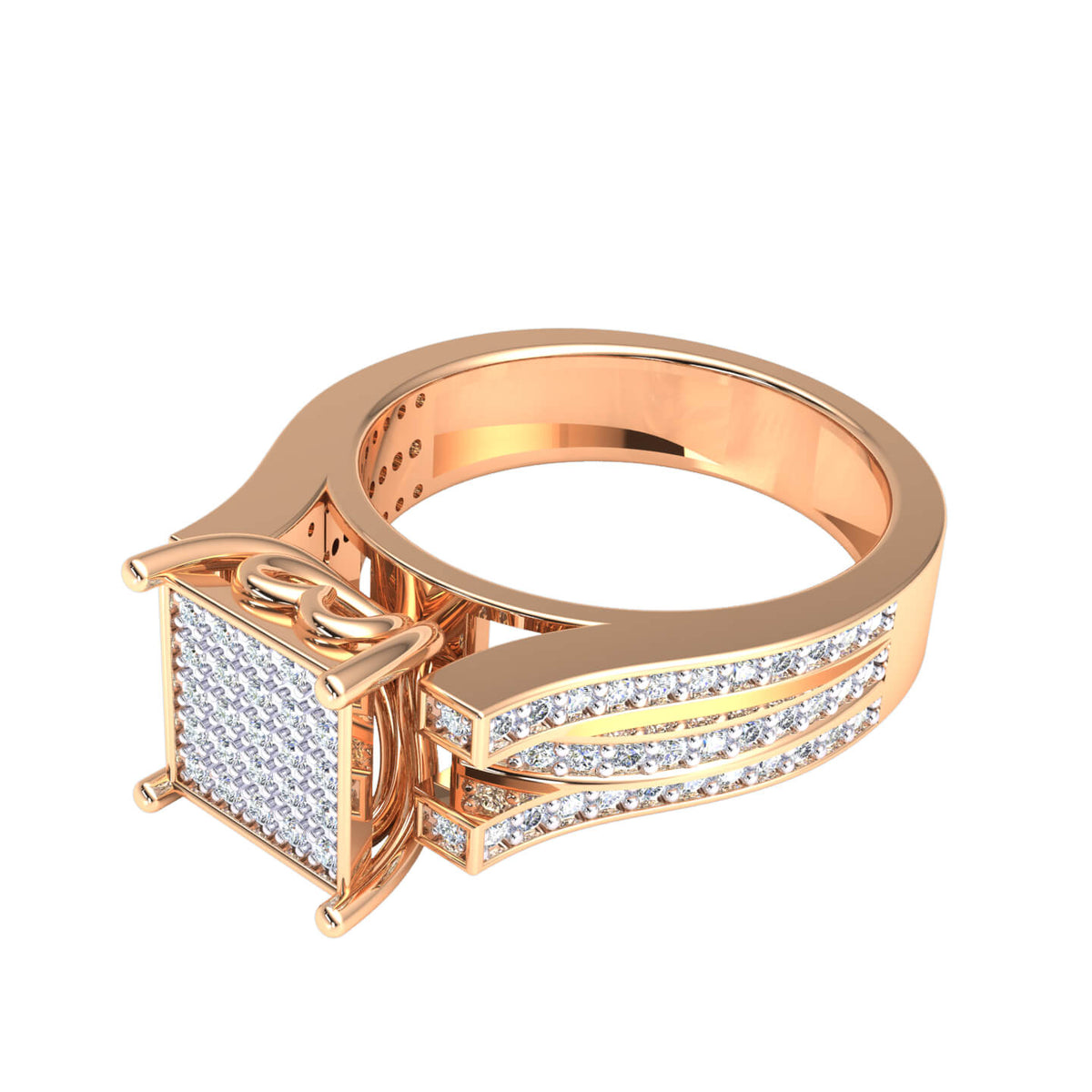 0.50 Ct Round F VS1 Diamond Hip Hop Micro Pave Men's Ring For Men 18k Gold