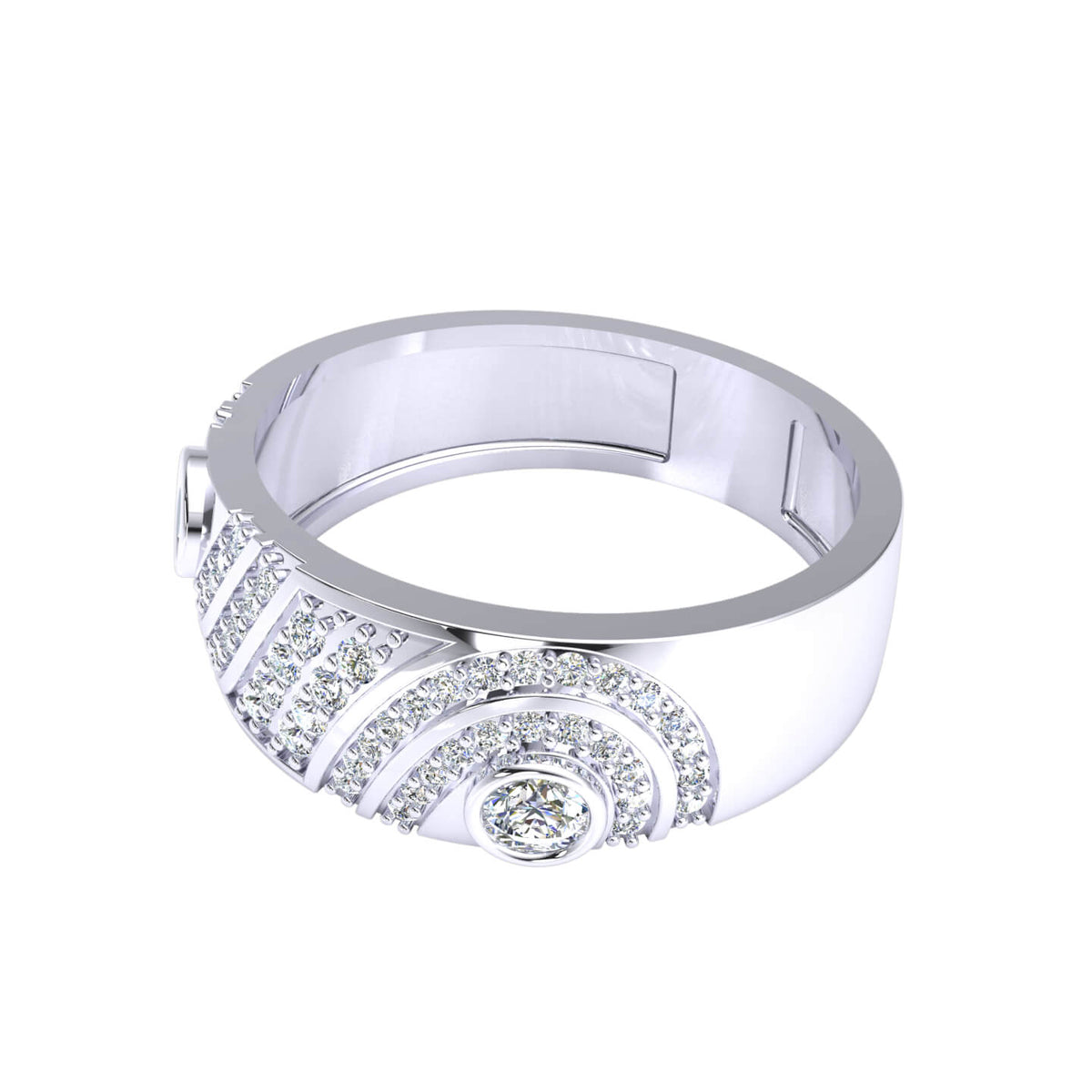 1.32 Ct Round GH I1-I2 Diamond Designer Fancy Wedding Band For Women 925 Silver