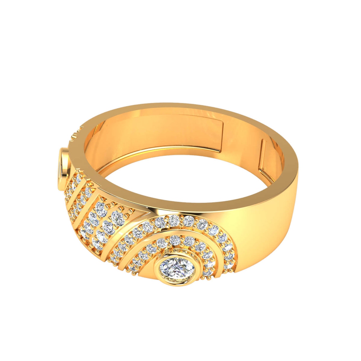 1.33 Ct Round GH SI1 Diamond Designer Fancy Wedding Band For Women 14k Gold