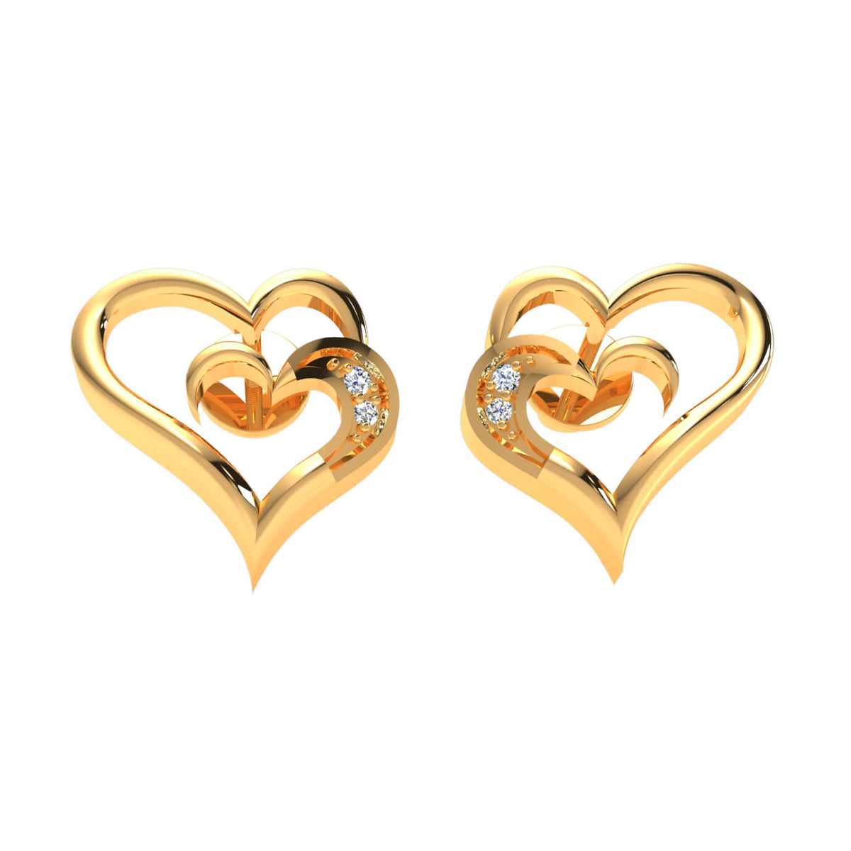 0.02 Ct Stud Round GH SI1 Diamond Heart Earrings 14k Gold