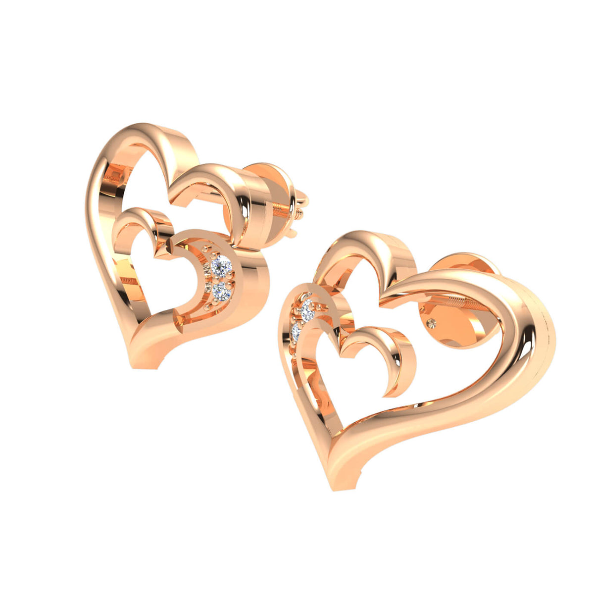 0.02 Ct Stud Round H SI2 Diamond Heart Earrings 10k Gold