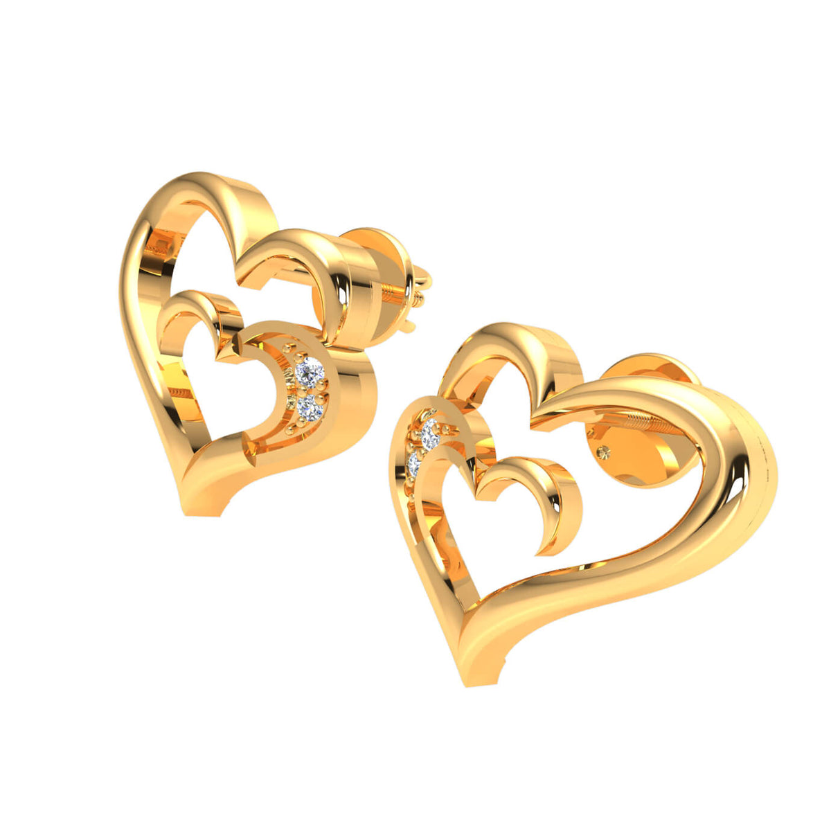0.02 Ct Stud Round GH I1-I2 Diamond Heart Earrings 925 Sterling Silver