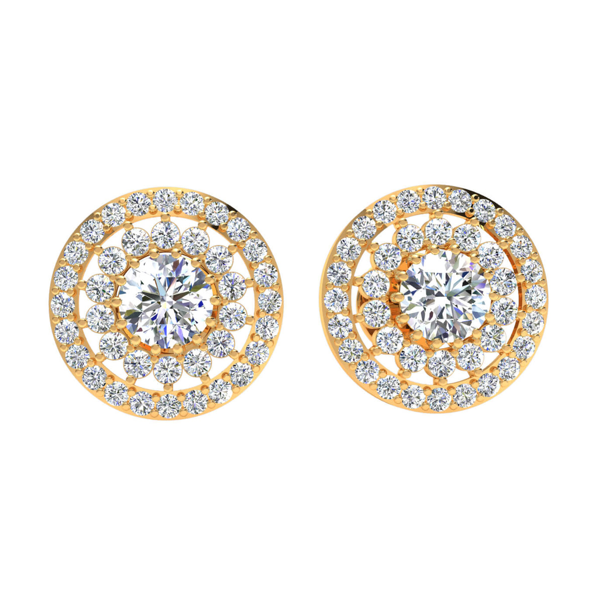 1.10 Ct Round GH I1-I2 Diamond Halo Solitaire Womens Stud Earrings 925 Sterling Silver
