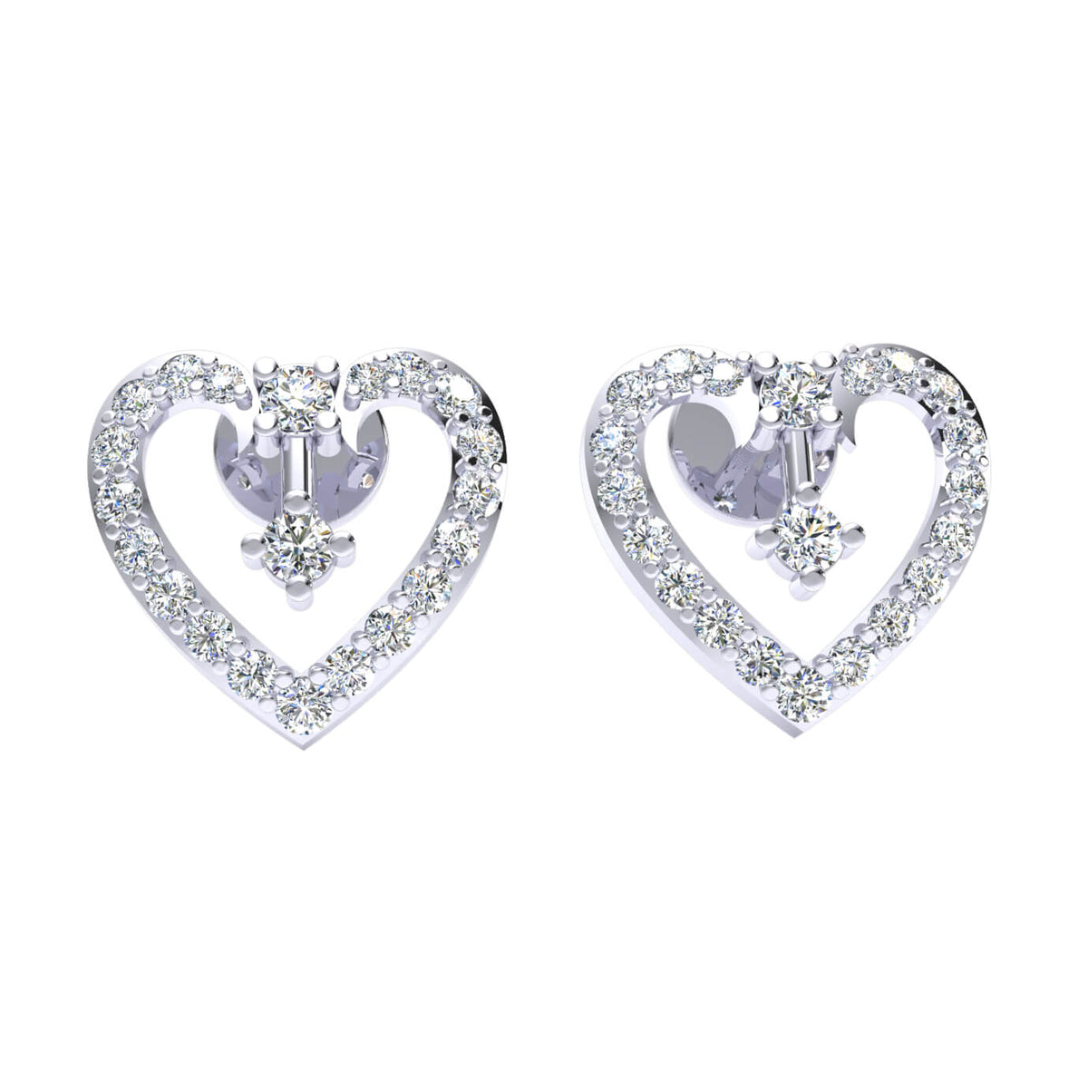 0.45 Ct Stud Round GH SI1 Diamond Heart Earrings 14k Gold