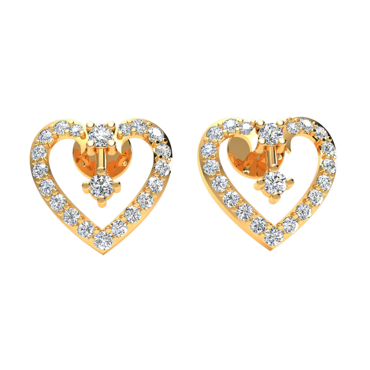 0.45 Ct Stud Round GH I1-I2 Diamond Heart Earrings 925 Sterling Silver