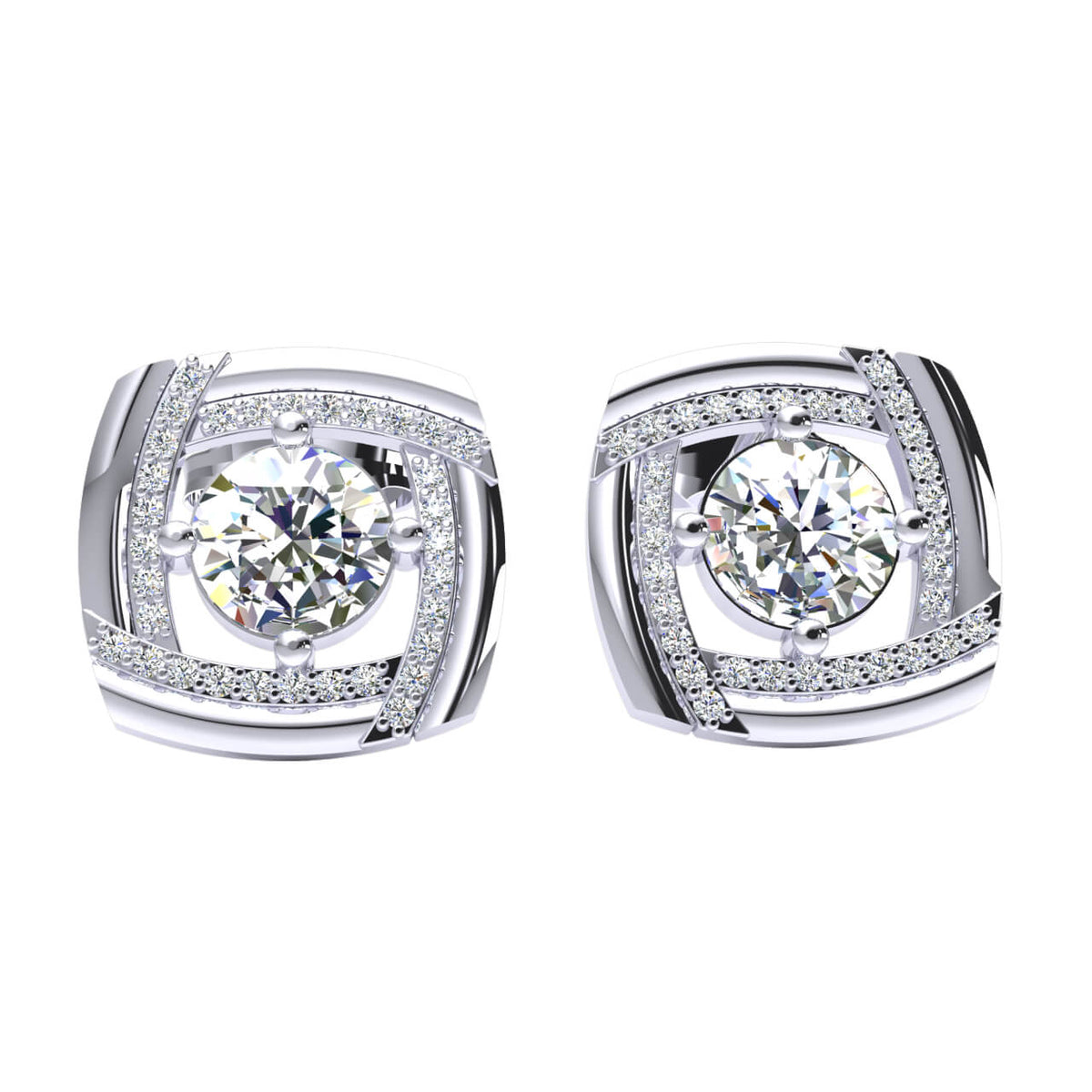 1.25 Ct Solitaire Round H SI2 Diamond Stud Earrings For Womens 10k Gold